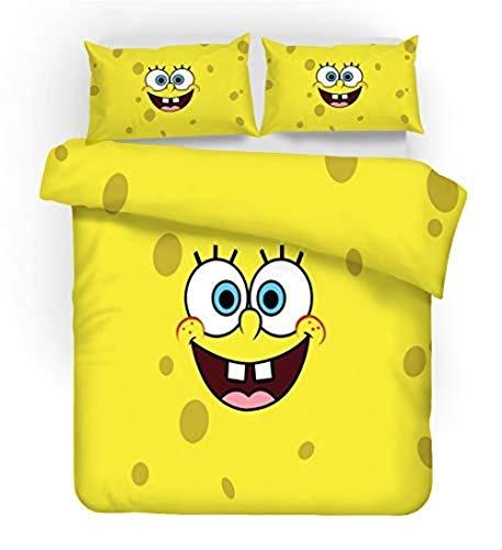 XWXBB Spongebob Juego de cama de 3 piezas con funda de edredón 3D ? Juego de ropa de cama de 3 piezas (funda nórdica + 2 fundas de almohada), grueso y suave, 04, individual (A03, 140 x 210 cm)