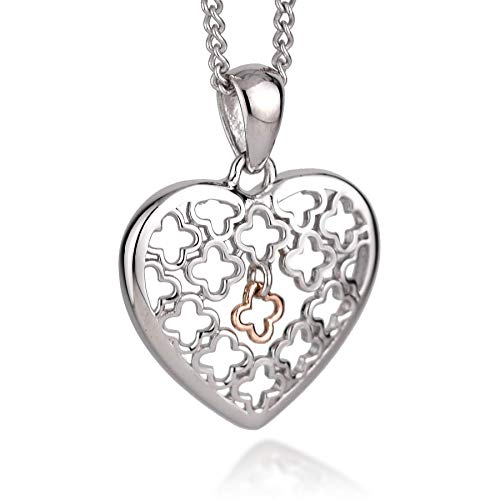 Clogau Womens Sterling Silver Rose and Welsh Gold Tudor Court Heart Dangle Charm Pendant