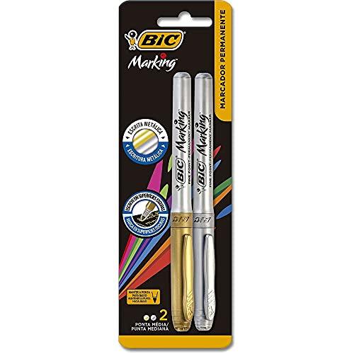 Pincel Marcador Permanente BIC Marking, Metálico Prata/Dourado, 903936, 2 Unidades