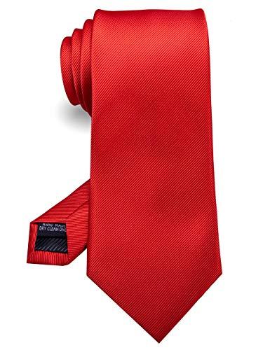 RBOCOTT Silk Red Tie Business Wedding Formal Necktie for Men (Red)