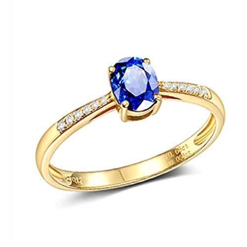 Aeici Alianzas Mujer Oro amarillo 18k, Anillos De Pedida Zafiro Diamante 0.66ct, Ovalada, Talla 18,5