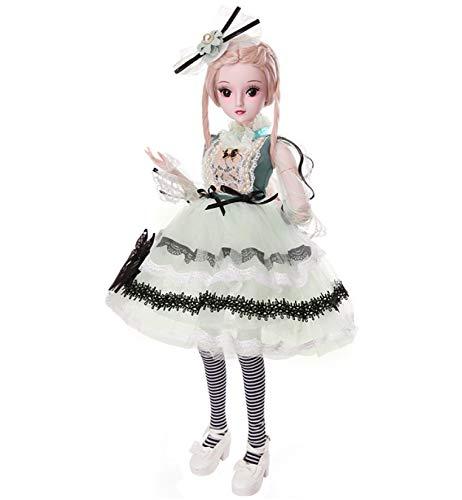 YIHANGG 1/3 BJD Doll Wear Green Ballkleid Langes Gelbes Haar 24 Zoll 60cm Kugelgelenk Puppe Wechselbare Kleidung Veränderbare Frisur Begleiten Kinder DIY Spielzeug