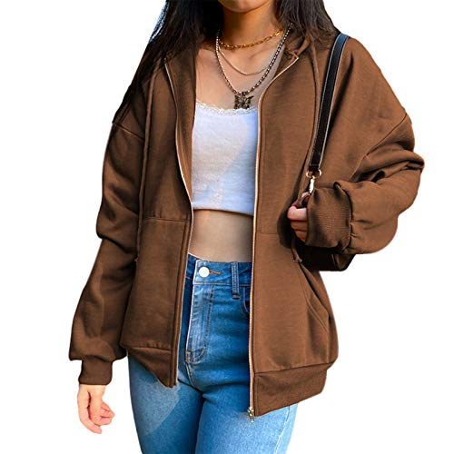 L&ieserram Damen Hoodie Jacke Oversize Vintage Reißverschluss Kapuzenjacke Zip Up Kapuzenpullover Sweatshirt mit Kapuze 90er Y2K E-Girl Übergangsjacke (A Braun, S)