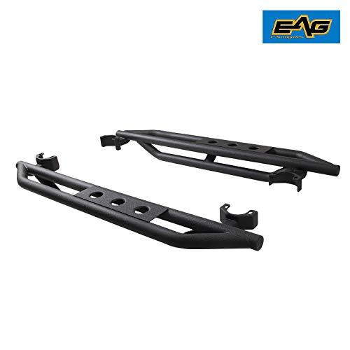 EAG Side Steps Armor Fit for 07-18 Wrangler JK 2 Door Rock Sliders Nerf Bars Running Board Rail Step