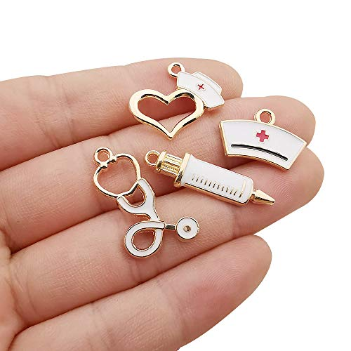 WOCRAFT 32pcs Gold Plated Enamel Medical Nurse Charms Stethoscope Syringe Nurse Cap Hat Charms for Jewelry Making Crafting Findings Accessory for DIY Necklace Bracelet (M430)