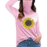 Dosoop Women's Casual Turtleneck Long Sleeve Pullover Sunflower Graphic Print Dustproof Face Guard Tops Blouse T-Shirt