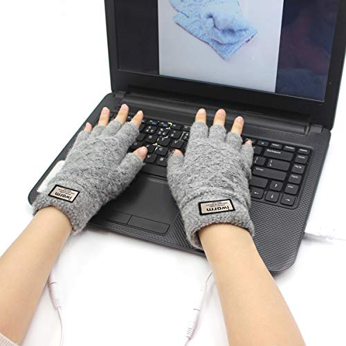 Offeree USB Heated Gloves Mitten for Women Men Half Hands Warm Laptop Gloves with Double-Sided Heating for Indoor or Outdoor Winter Usb Powered Knitting Hands Warmer (Grey02)