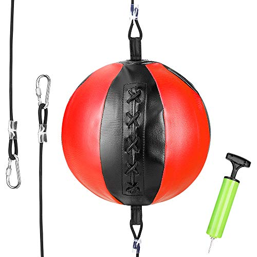 ACETOP Speed Punch Bag, Double End Boxing Ball Leather Punching Bag, Boxing Bag with Pump Ring Locking for Gym MMA Boxing Sports Punch Bag Adult Kids Men Women (Red)