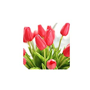 31Pcs/Lot Tulips Artificial Flowers PU Fake Flowers Real Touch Flowers for Wedding Decoration Home Party Decoration,Mini Red Tulips