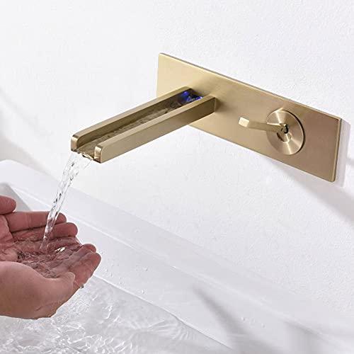 BFDMY Grifo de Lavabo Oculto de 2 Orificios Grifo Mezclador de una Sola Palanca Grifo de baño Montado en la Pared LED Cascada para baño Hecho de latón Dorado Cepillado,Gebürstetes Gold
