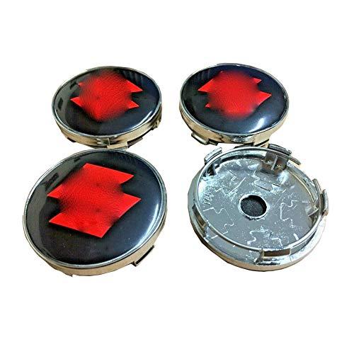JYEBJD 4 Pezzi Cappucci Centrali delle Ruote Adesivo Distintivo 3D per Suzuki, Coperture Antipolvere per Ruote Cover con Stemma Distintivo Adesivi Logo Wheel Trim Accessori