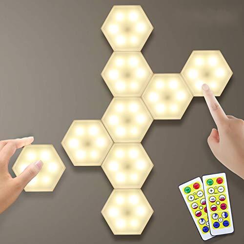 Lightess Luce Notturna Dimmerabili LED Luce Guardaroba Lampada Esagonale Creativo Luci Armadio Geometria Sensibile al tocco Illuminazione per Vetrine (bianco caldo,9 pezzi)