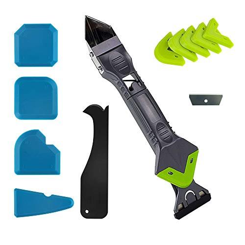 Silikonentferner Werkzeug, 5 in 1 Fugenkratzer Dichtmittelentferner Silikon Fugenwerkzeug Set,Ersatzklinge,5 Stück Blau Silikon Schaber Werkzeuge für Küche Bad Boden Fliesen