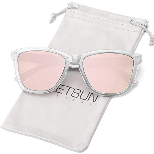 MEETSUN Polarized Sunglasses for Women Men Classic Retro Designer Style (Clear Frame / Pink Mirrored Lens, 54)