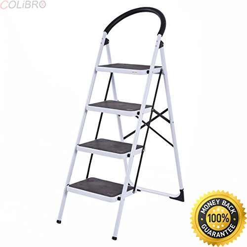 COLIBROX--4 Step Ladder Folding Stool Heavy Duty 330Lbs Capacity Industrial Lightweight. step ladder home depot. 4 step ladder with handrail. home depot step stool. step ladder walmart.