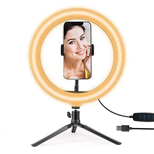 Hanbee Anillo de Luz LED 12 Pulgadas fotográfica de Escritorio, 3 Colores 10 Brillos Regulables Wire Control Remoto, Trípode con Soporte Giratorio de teléfono para Selfie, Maquillaje, Youtube, TIK Tok