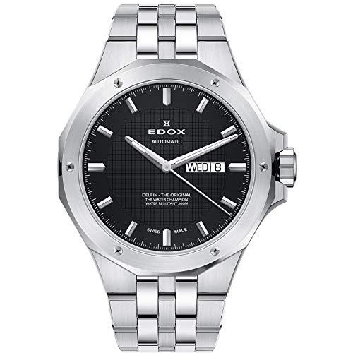 Edox Herren-Armbanduhr Delfin Day-Date Datum Wochentag Analog Automatik 88005 3M NIN