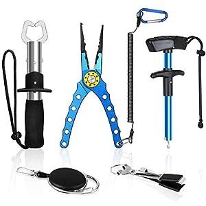 EEEKit Muti-Function Fishing Pliers + Fish Gripper + Fishing Hook Remover + Fishing Quick Knot Tying Tool Set, Ideal Gifts for Fishmen