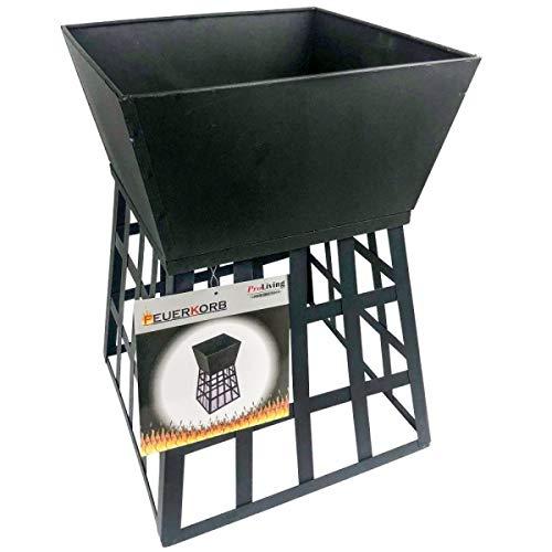 ProLiving Feuerkorb 2 in 1 aus Stahlblech | Feuerständer für Feuerstelle Outdoor | schwarz | 33 x 33 x 48 cm (L x B x H)