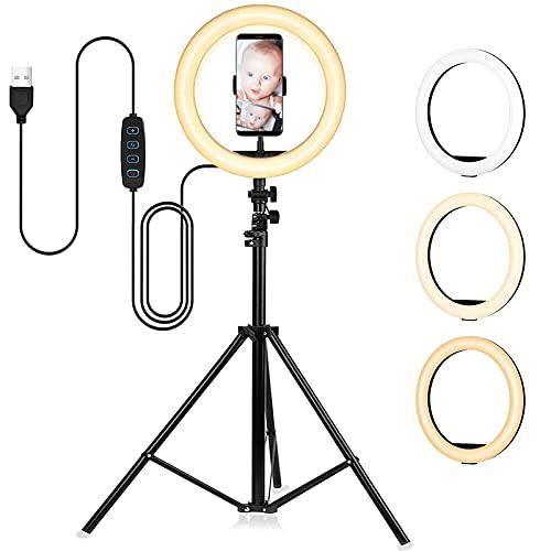 Rabbitstorm Aro de Luz Led para Selfies con Trípode | Luz Circular Ajustable LED para Maquillaje | Fotografia | Videos (10 Pulgada)