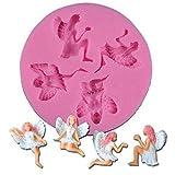 Jeffyo - Molde de silicona para decoración de pasteles, diseño de ángel de la hada