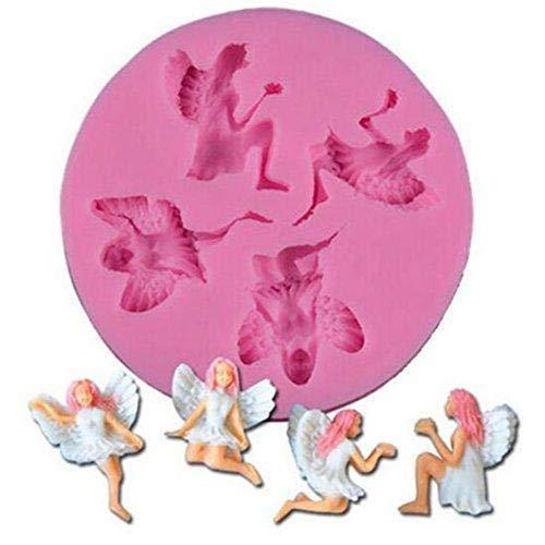 Jeffyo Molde de silicona para fondant con diseño de ángel de hada, para decoración de...