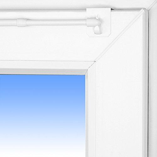 Dekohaken24 Gardinenstange Florida 40-60cm ausziehbar Vitragenstange + 1 Paar Klemmträger Weiß Universal für Oben am Fenster