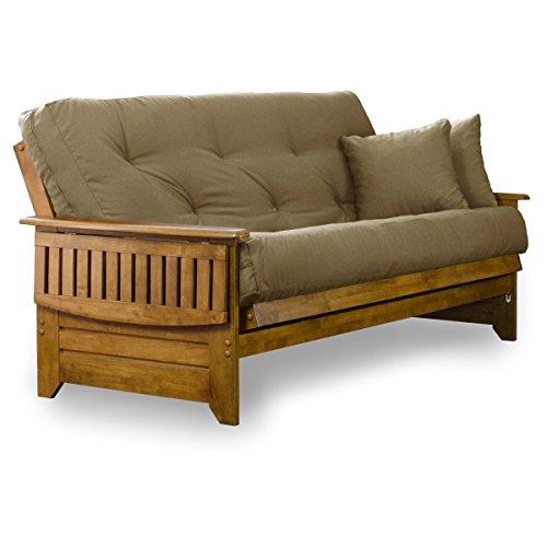 "Nirvana Futons Brentwood Tray Arm Futon Sofabed Set - Full Frame, 8"" Thick Khaki Mattress, Rich Heritage Finish"