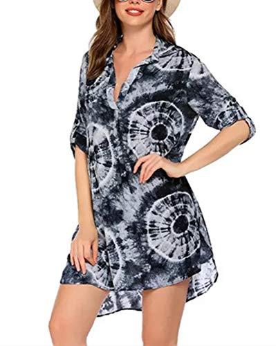 LNX Túnica de gasa para mujer, tallas grandes, estampado floral, estampado de leopardo, teñido anudado, solapa, cuello en V, manga enrollable, vestidos