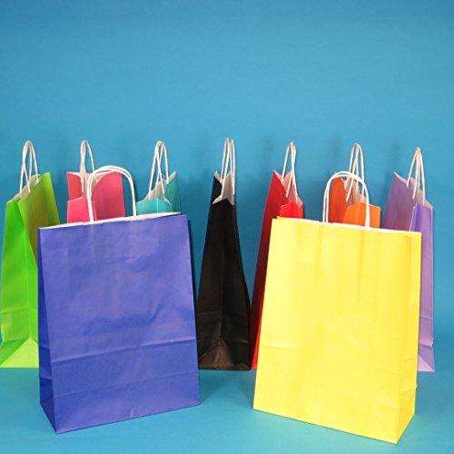 Pro DP 250-350 Papiertragetaschen Papiertüten Einkaufstüten farbig bunt mit Kordel Henkel 9 5 Größen zur Auswahl (26+12x35cm, Schwarz)