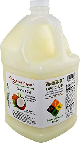 Coconut Oil - 1 Gallon - 128 oz - Food Grade - 1-gallon safety sealed HDPE container with resealable cap