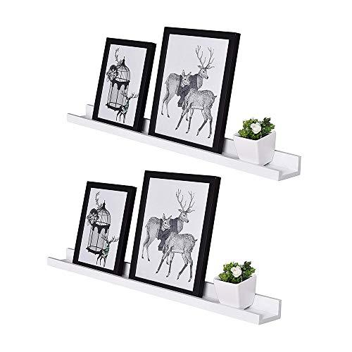 AHDECOR Wandregal Schweberegale für Fotorahmen und Bücher 2er Set,38 x10.16cm,Modernes Regal mit Unsichtbare Montage,Weiß