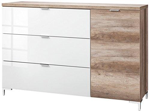 CS Schmalmöbel 45.150.505/030 Highboard Cleo Typ 22, 163 x 50 x 111 cm, wildeiche/weißglas