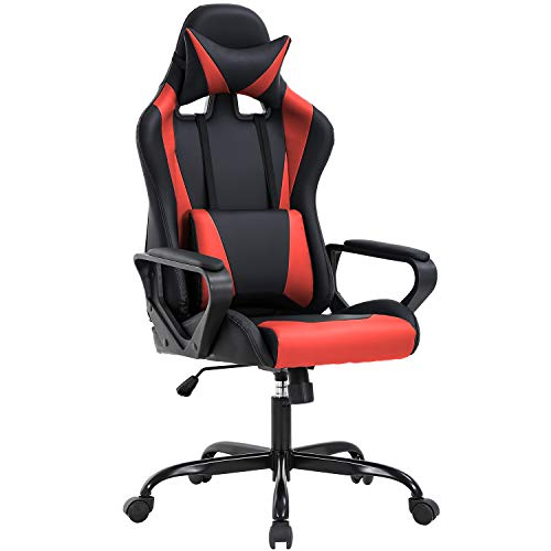 High-Back Gaming Office Chair Racing Style Computer Desk Chair Ergonomic Executive Swivel Rolling Chair with Lumbar Support for Women, Men(Red)
