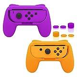 FASTSNAIL Grips para Nintendo Switch Joy-Con, kit de mango resistente al desgaste para mando Switch Joy Cons, paquete de 2 (naranja y morado)