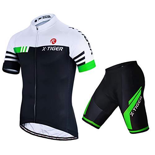 X-TIGER Herren Fahrradtrikot, kurzärmliges Set mit 5D-Gel-gepolsterten Shorts, Fahrradbekleidung Set für Mountainbikes, (Grün, 3XL)