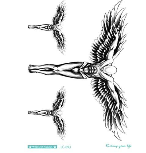 Tattoo Stickers Tijdelijke Lichtgevende Niet-giftige Waterdicht Veilig en Schets 3 Stks-Heldere Gat Veer Vleugels Tattoo Ontwerp