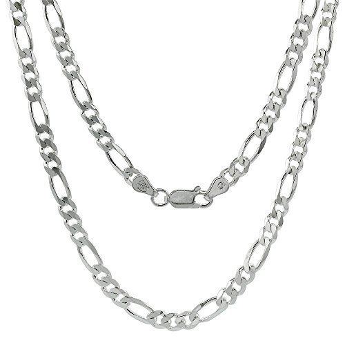Hot Sale Sterling Silver Italian Figaro Chain Necklace 4.5mm Beveled Edges Nickel Free, 18 inch