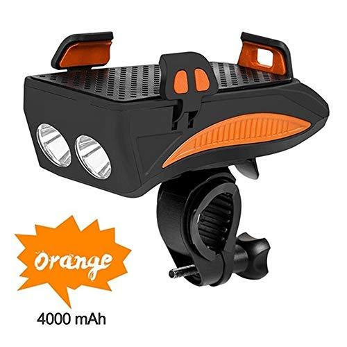 Luz Bicicleta LED con Soporte para Teléfono,Luz Delantera de MTB Recargable con Bocina,4000Mah Banco de Energía,3 Modos de Luz,400Lumens,para Smartphone de 4.0''-6,3'',Estanca,Naranja