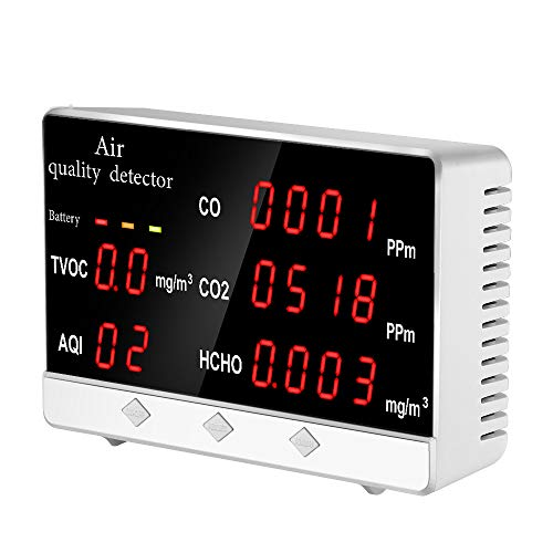 Air Quality Monitor, SEESII Indoor Air Quality Accurate Tester for CO2 Formaldehyde(HCHO) TVOC/AQI, Multifunctional Air Gas Detector Monitoring Real Time Data&Mean Value Recording