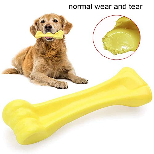 EETOYS Dog Chew Toys for Aggressive Chewers Lifetime Replacement Guarantee Nearly Indestructible Tough Durable Dog Toy Non-Toxic Nylon Dog Bone Toy Reduces Boredom (Yellow, Large)