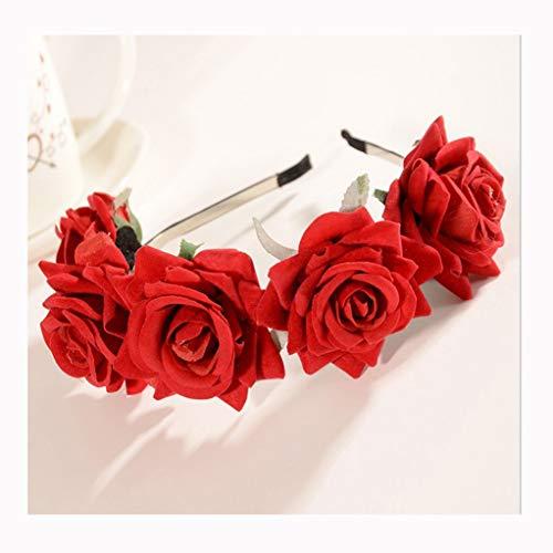 LYM Fleur Guirlande Fleurs Guirlande Corolla Bandeau Mariage Festival Féminin Accessoires De Cheveux Rouge (Couleur : A)