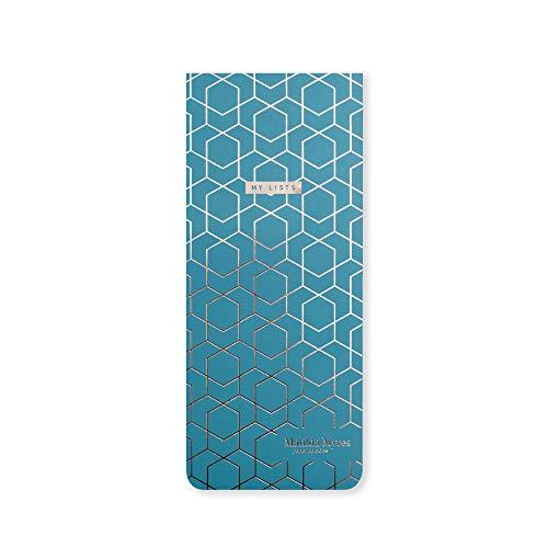 Matilda Myres Slim Listenblock – Einkaufsliste – magnetisch – Blaugrün - 232 x 97mm