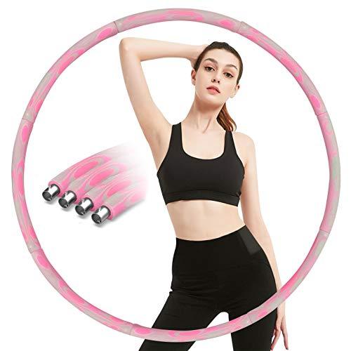 Aoweika Fitness Exercise Hoop Erwachsene Für Gewichtsreduktion 1,2 kg, Verbesserter Innenkern aus Edelstahl, Reifen mit Verdickte Schaumbaumwolle, Das Gewicht Kann Bis zu 3,5 kg Gefüllt Werden