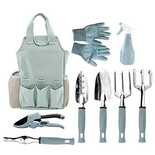 Yajun Garden Tool Set Gardening Combination Kit Shovel Spade Watering Kettle Aluminum Alloy Outdoor Transplanting Tool 9pcs/Set