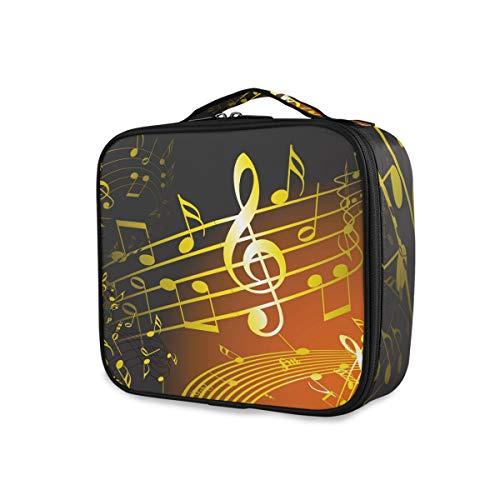 Musique Symbole Golden Notes Maquillage Sac Voyage Organisateur Outils Cosmétique Train Cas De Stockage Portable Trousse De Toilette