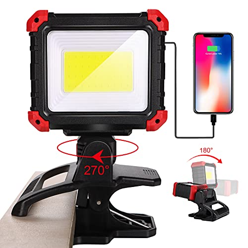 LED Rechargeable Work Light, 2100LM COB Magnetic Clip on Worklight 270°Rotating with Mobile Charger&3 Light Modes Portable Clamp Work Light Waterproof Cordless for Car Repairing Job Site Lighting