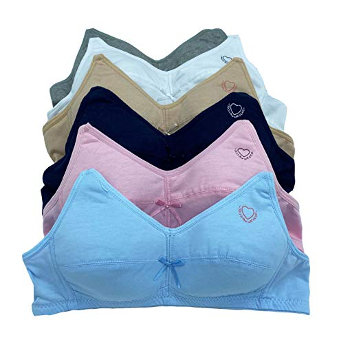 iheyi 6 Pieces Girl's Cotton Wire Free Junior Training Bra A Cup (30A)