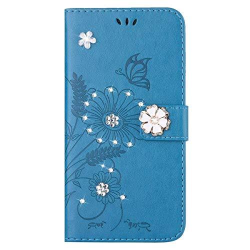 Surakey Funda Compatible para Huawei P8 Lite 2017 Funda Carcasa Tipo Libro Piel PU Cover Carcasa Plegable Cartera en Piel Cárcasa Lujosa Brilla Glitter Case de Estilo Billetera,Azul K
