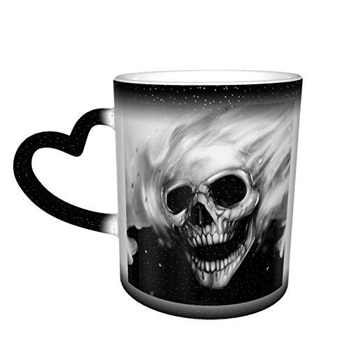 Taza de café cambiante mágica, diseño de calavera fantasma, impresión personalizada, de cerámica, sensible al calor, para regalo, té, café